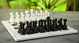 RADICALn 15 Inches Handmade White and Black Marble Full Chess Board Game for Kids and Adult- Classic Style Staunton Home D...