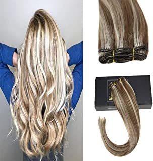Sunny 24inch Weft Hair Extensions Human Hair Sew In 100G/Bundle 100% Remy Hair Wefts Human Hair Light Brown Fading to Bleach Blonde #6/613 Balayage Extensions Human Hair