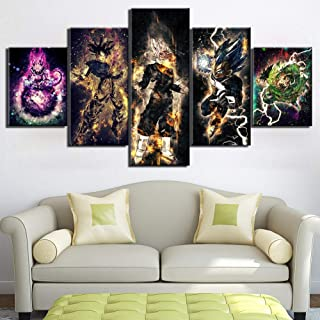 5 Pieces Dragon Ball Super Goku Vegeta Anime Poster HD Wall Art Canvas Painting Pictures Living Room Home Decor Frame
