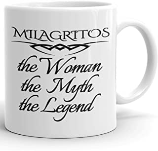 Milagritos Coffee Mug Tazas Personalizadas con Nombres - The Woman The Myth The Legend - Best Gifts Regalos for Women - 11 oz White mug