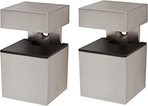 Duraline Cube kubus plankdrager, metaal, geborsteld nikkel, 12 x 4,3 x 17 cm, 2 stuks