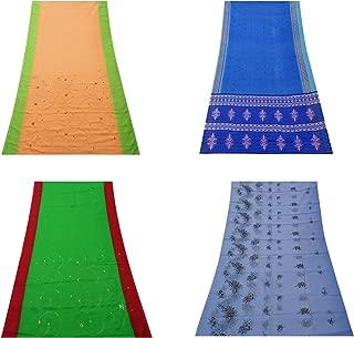 Peegli Indian Home Decorative Saree Handmade DIY Sewing Craft Fabric Multicolor Wholesale Bundle Sari Art Décor Throw Assorted DIY Fabric Curtain Drape Women Vintage Used Sari Lot of 4