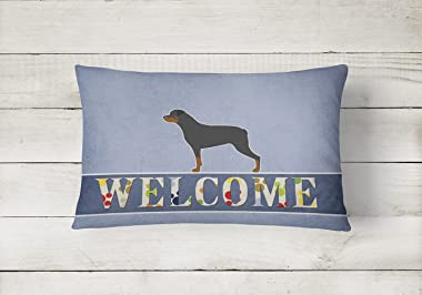 Caroline's Treasures BB5570PW1216 Rottweiler Welcome Canvas Fabric Decorative Pillow, 12H x16W, Multicolor