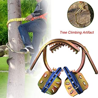 Image of Rong-- Tree Climbing Dedicated Tool Electrician Climbing Trees Foot Buckle, Non-Slip Thicken Spikes Hook for Cutting Trees Cement Pole Tree Climbing Hook for Hunting,400 mm / 15.7 in