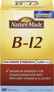 Nature Made Maximum Strength Vitamin B-12 Soft gel, 5000 mcg 60 Count (Pack of 2)