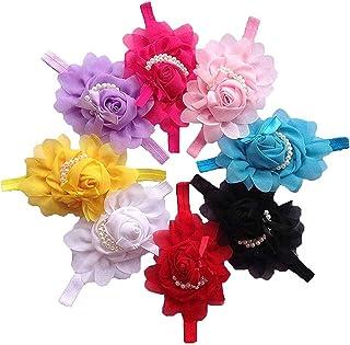 Flyme 8Piece Baby Girls Cute Rose Flower Pearl Headband Hair Accessories
