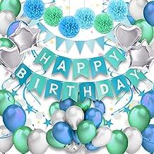 Pushingbest Decoraciones Cumpleaños, Decoraciones de la Fiesta de cumpleaños Pancarta de cumpleaños con Globos de látex, Papel Poms, Globos con Forma de Estrella y Azul espirales decoración.