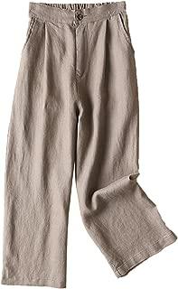 Women's 100% Linen Wide Leg Pants Capri Trousers Back with Elastic Waist