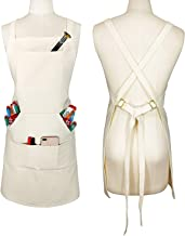 Sturdy Thick Professional Artist Apron, Cross Back + Fasten/Quick Release Buckle + 6..