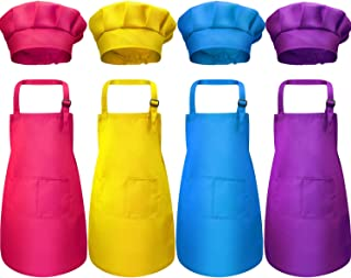 yarachel Kids Apron and Chef Hat Set - 8 Pieces Waterproof and Adjustable Child Aprons with 2 Pockets Kitchen Bib Aprons for Boys and Girls Kitchen Cooking Baking Painting (Medium, Color 2)