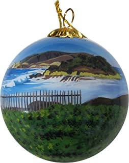 Art Studio Company Hand Painted Glass Christmas Ornament - Beach & Fence in Half Moon Bay