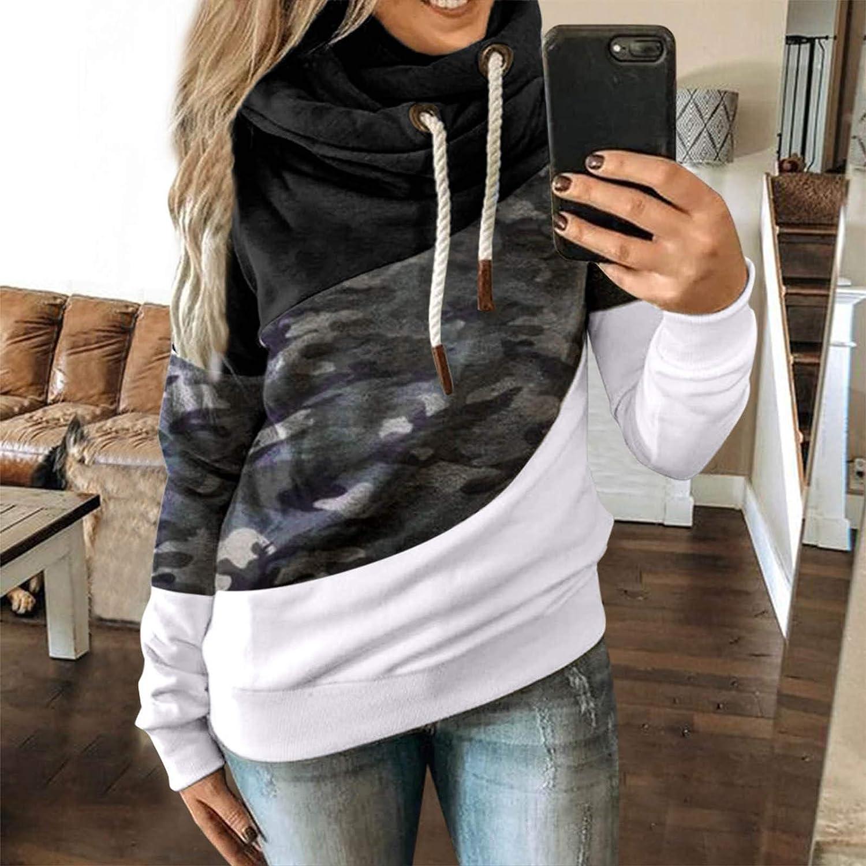 HUYURI Damen Kapuzenpullover Lang Hoodie, Sweatshirt Frauen Stehkragen Pullover mit Kapuze Herbst Winter Mantel Slim Fit Hoody Casual Pulli High Neck Outwear 11-schwarz