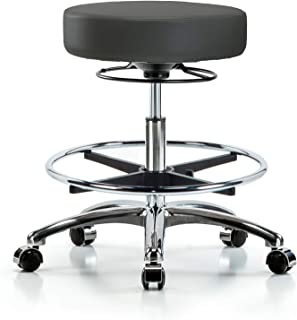 Adjustable Stool for Exam Rooms, Labs, and Dentists with Wheels - Chrome, Bench Height, Charcoal