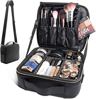 Bvser Travel Makeup Case, PU Leather Portable Organizer Makeup Train Case Makeup Bag Cosmetic Case with Shoulder Strap and Adjustable Dividers for Cosmetics Makeup Brushes Women - Black