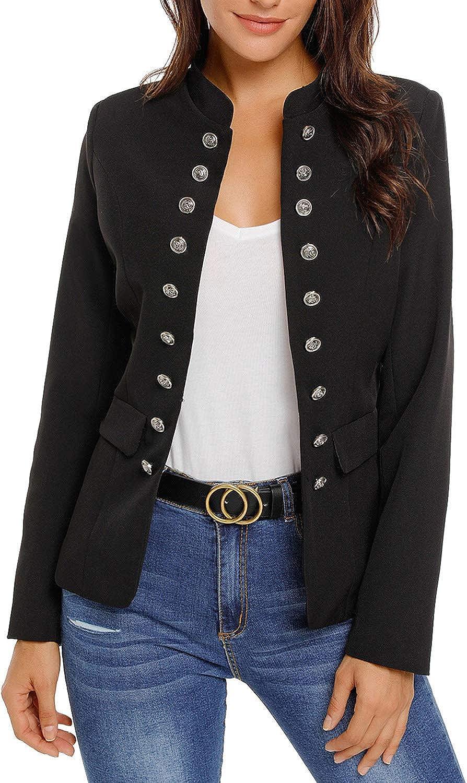 Utyful Women's Open Front Long Sleeve Buttons Work Office Blazer