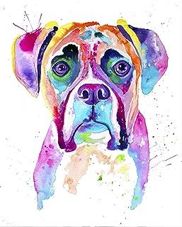 Boxer Watercolor Print, Boxer Dog, Boxer Dog Gifts, Boxer Dog Art, Boxer Painting, Pet Portrait, Pet Lover, Perros, Art Decor, Colorful Dog