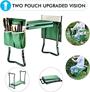 Garden Kneeler And Seat With 2 Bonus Tool Pouches - Portable Garden Bench EVA Foam Pad With Kneeling Pad for Gardening - Sturdy, Lightweight And Practical - Protect Knees And Clothes When Gardening