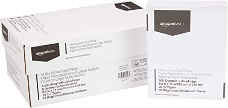 AmazonBasics Multipurpose Copy Printer Paper - White, 8.5 x 11 Inches, 8 Ream Case (4,000 Sheets)