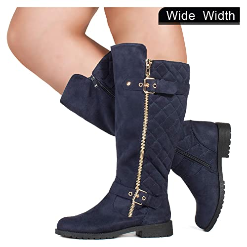 92661d996ced RF ROOM OF FASHION Wide Calf Lady s Buckle Knee High Riding Boots Hidden  Pocket