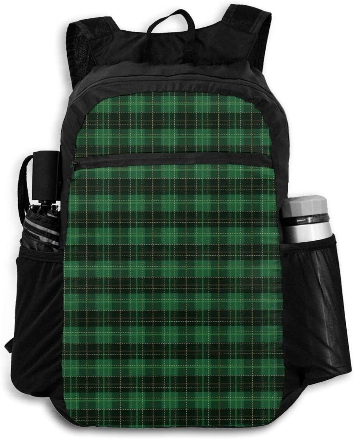 Green Diagonal Holiday 2021 spring and summer new Plaid Pattern Backpacks for Finally popular brand Cut Men Women