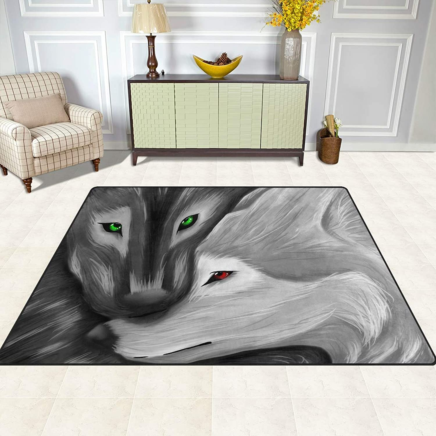 FAJRO Black and White Wolves Rugs for entryway Doormat Area Rug Multipattern Door Mat shoes Scraper Home Dec Anti-Slip Indoor Outdoor