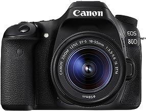 Canon EOS 80D Digital SLR kit con lente EF-S 18–55mm f/3.5–5.6 estabilización de imagen STM, color negro (reparada)