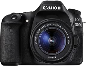 Canon EOS 80D Digital SLR Kit with EF-S 18-55mm f/3.5-5.6 Image Stabilization STM Lens - Black (Renewed)