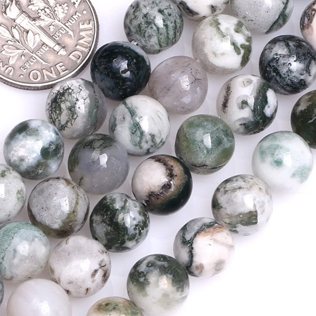 GEM-inside Natural 8mm Round Green Moss Tree Agate Stone Beads for Jewelry Making Strand 15