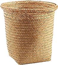 Generic Straw Woven Storage Basket Wicker Woven Garbage Can Plant Basket Flower Pot Garbage Container Bin Storage Wastebas...