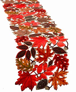 Simhomsen Embroidered Leaves Table Runner for Thanksgiving, Fall or Autumn Harvest Decorations (14 × 70 inches)