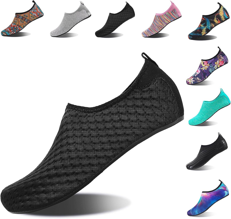 HMIYA Aqua Socks Beach Water shoes Barefoot Yoga Socks Quick-Dry Surf Swim shoes for Women Men (YH.Black, 34 35EU)