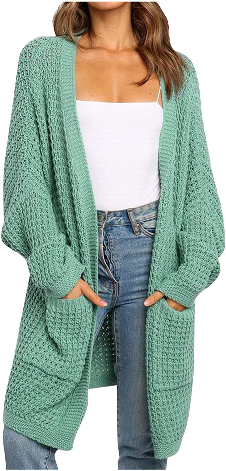 Forwelly Long Sweater Cardigan for Women Fashion Plain Mid Long Knit Jacket with Pocket Fall Winter Coat