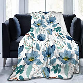 ARRISUM Blue Flower Floral Pattern with Roses Watercolor Colorful Abstract Blanket Super Soft Flannel for Bed Sofa Lightweight Blanket Throw Size for Kids Adults All Season 60X50 Inches