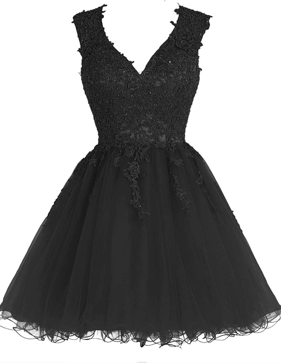 Bbonlinedress Short Tulle VNeck Appliques Homecoming Prom Party Dresses