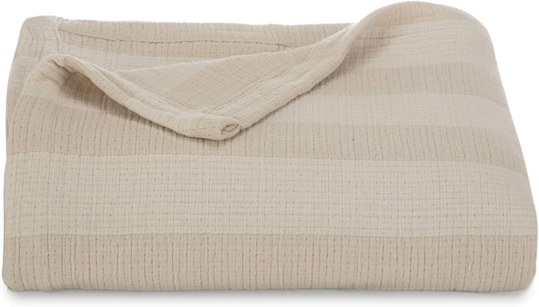 Cream Twin Martex Hampton Stripe Coverlet