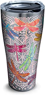 Tervis 1261345 Dragonfly Mandala Stainless Steel Tumbler with Clear and Black Hammer Lid 30oz, Silver