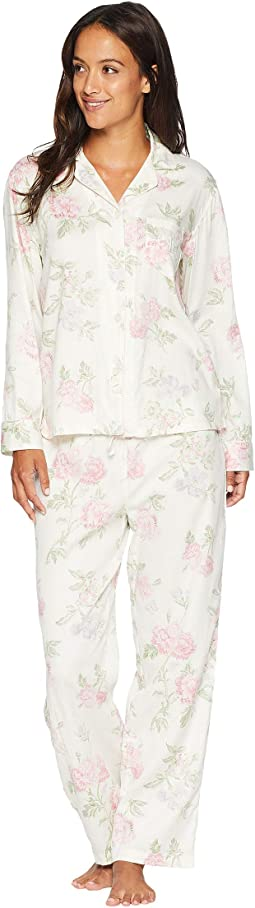 Petite Classic Woven Pointed Notch Collar Pajama Set