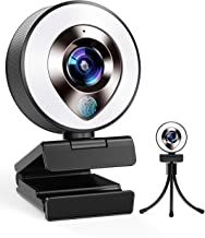 2021 CASECUBE FHD 1080P Webcam with Microphone and Ring Light, 3-Level Adjustable Brightness, Plug and Play Computer Camer...