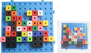 Linking cube blocks Pattern cards and building baseboard - Snap Block - Interlocking Cubes and Building Base - Constructive Building Block Toy with Patterns - Building block toy set Busy Bag Activity
