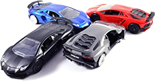 HCK Set of 4 2017 Lambo Aventador SV - Pull Back Toy Cars 1:32 Scale (Black, Blue, Red, Grey)