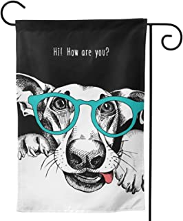 Dog Glasses Garden Flag Black White House Flag Vertical Double Sided Yard Outdoor Decor Party 12.5 X 18 Inch