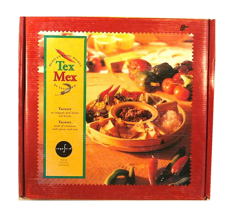 Sagaform Stoneware Tex Mex - Juego de mesa de 5 piezas con bandeja de servir y cucharas: Amazon.es: Juguetes y juegos