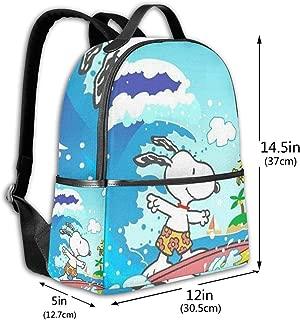 Classic School Backpack Snoopy Surf Unisex College Schoolbag Travel Bookbag Black