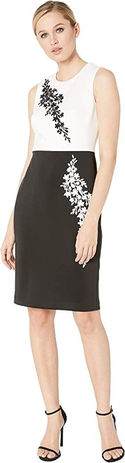 Caviar Beading Color Block Sheath Dress