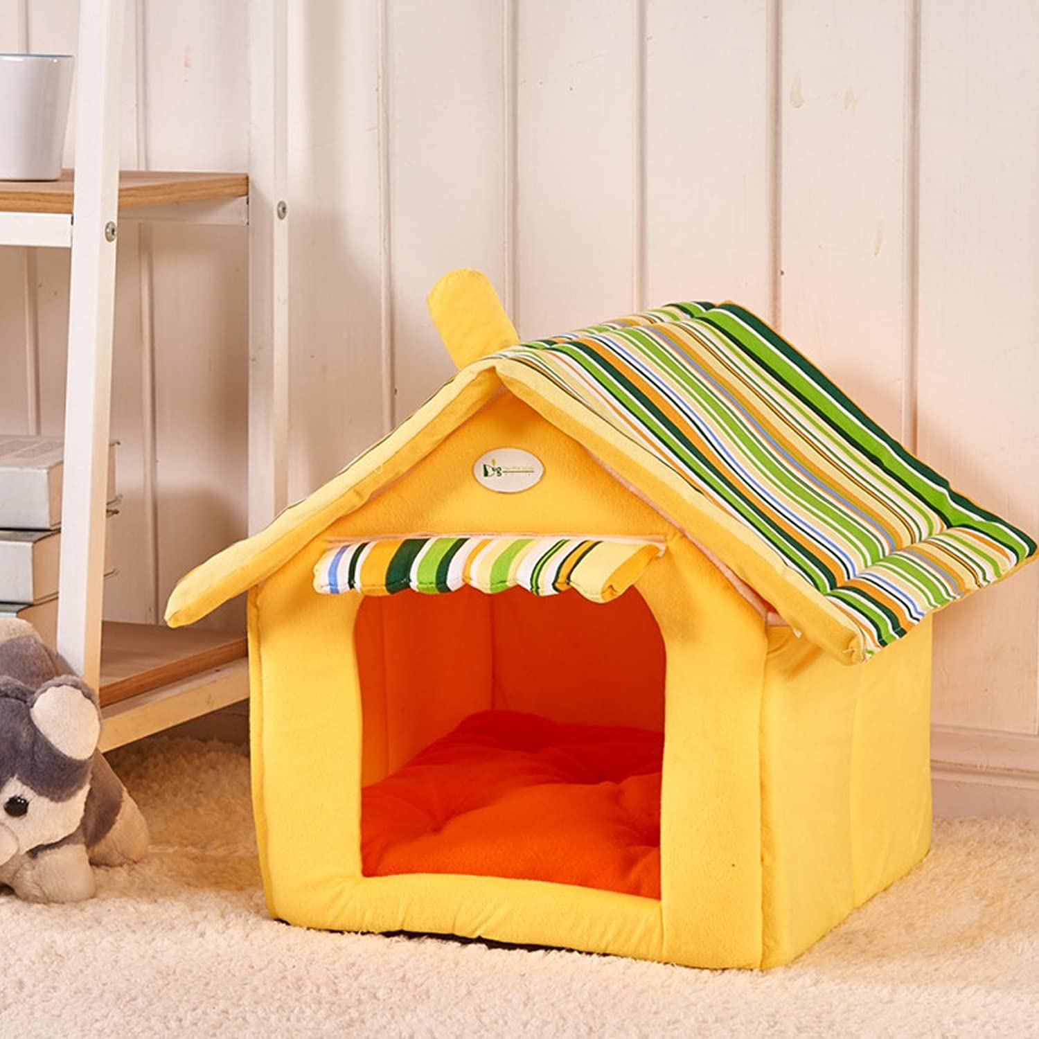 Pet House Portable Cotton Cats Room Pet Supplies Soft Dog House Bed (Large, Yellow)