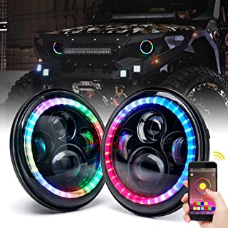 Xprite 7 Inch 90W CREE RGB LED Headlights with Bluetooth Control Multi-color Chasing Dance Halo Ring for 1997-2018 Jeep Wrangler TJ JK