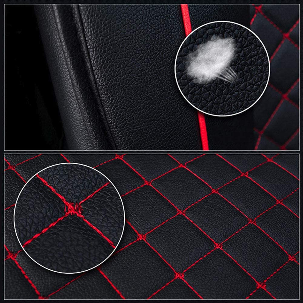 Professional PU Leather Full Surround Fly5D Full Set Car Seat Cover Fit for Most of 5 Seats car,All Seasons Universal Black//Red Line Easy to Clean Waterproof Comfortable Durable