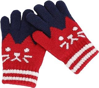 9f9dc87c509fe Gants Hiver Automne Chaud Mitaines Plein-doigts Tricot Moufles Extérieur  Doublure Cachemire Thermique Chaton Imprimé