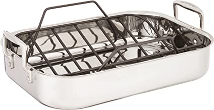"Le Creuset Stainless Steel Roasting Pan with Nonstick Rack, 14"" x 10"""