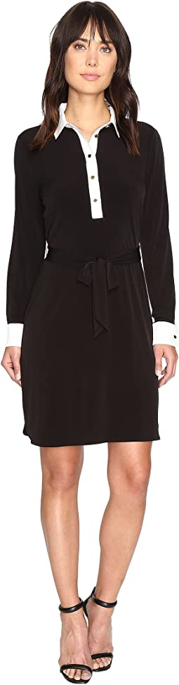 Ivanka Trump Matte Jersey Dress with Self Tie and Contrast Collar and Cuff